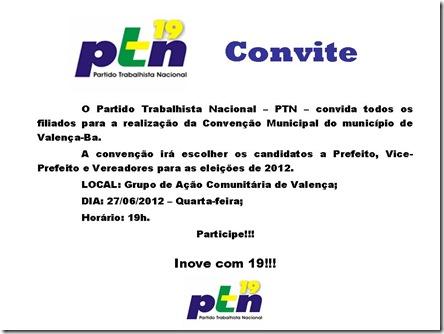 Convite para convenção do PTN