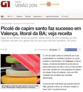 G1 - Picolé de capim santo faz sucesso em Valença, litoral da BA_ veja receita - notícias em Verão 2014